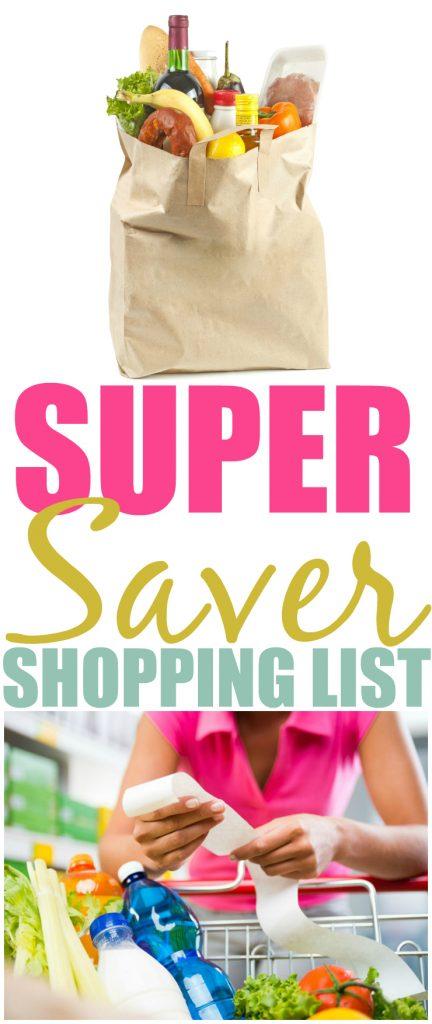 Super Saver Shopping List