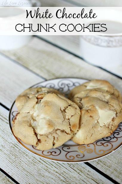 White Chocolate Chunk Cookies | Life Love Liz
