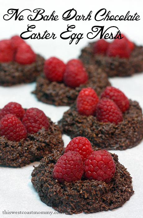 no bake dark chocolate easter egg nests