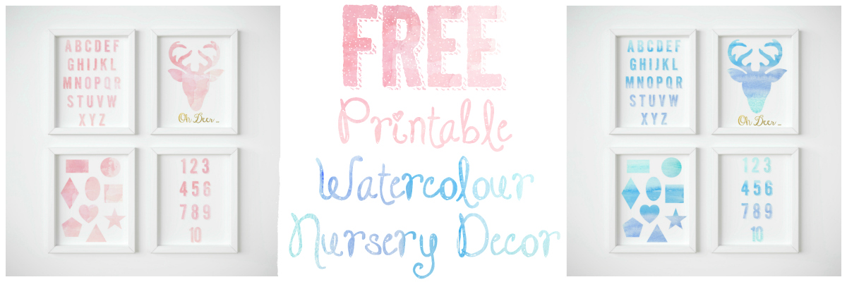 free printable watercolour nursery decor