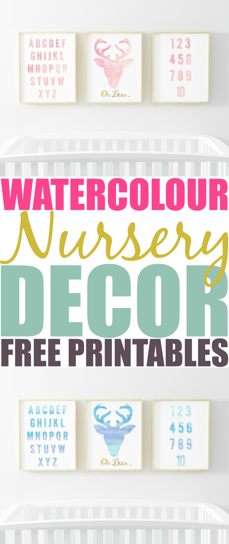 graphic relating to Free Printable Decor named Cost-free Printable Watercolour Nursery Decor - Excessive Couponing Mother