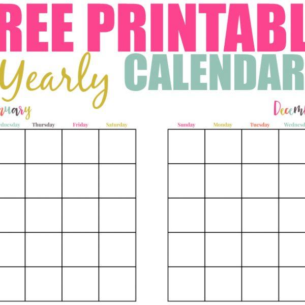 Free Printable Yearly Calendar