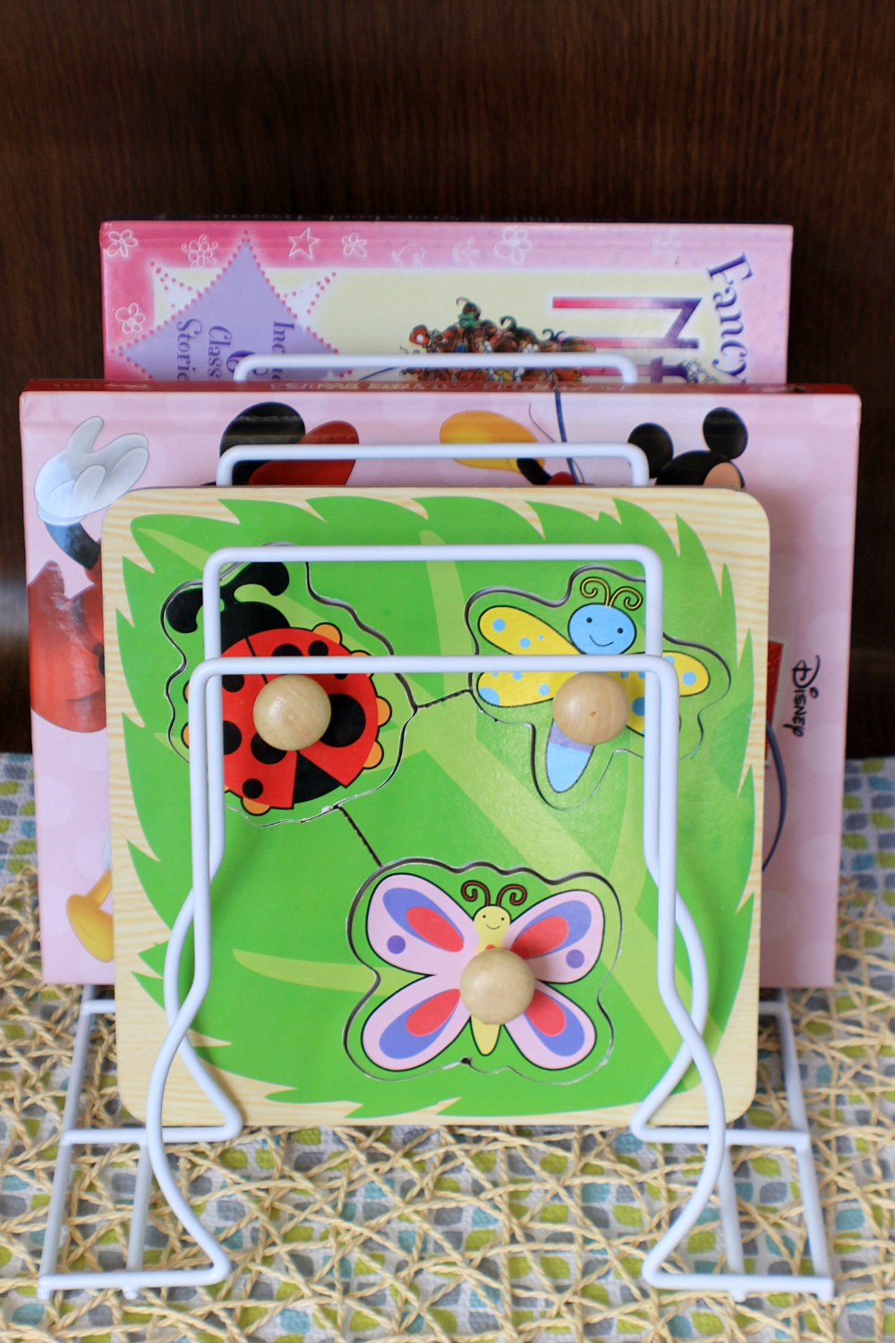 Plate Rack Book & Wooden Puzzle Storage Mom Hack