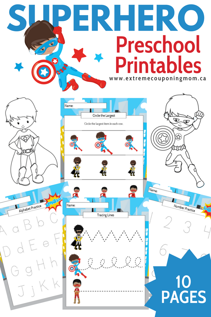 Boy Superhero Preschool Learning Printable Package