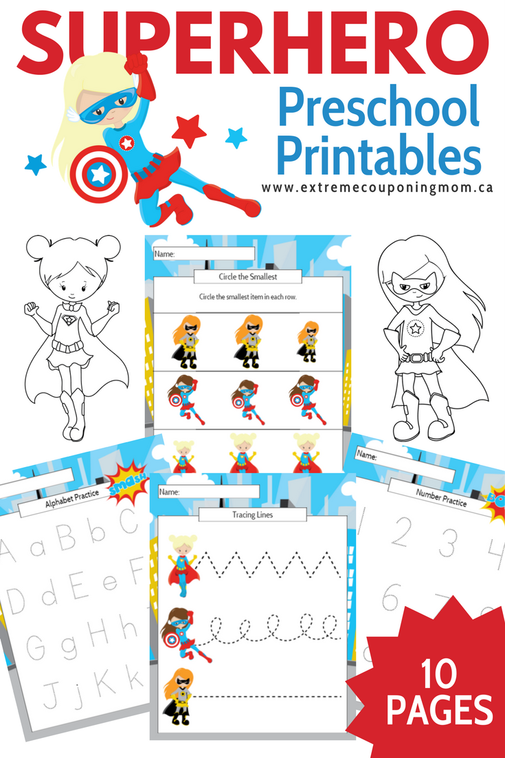 Girl Superhero Preschool Learning Printable Package