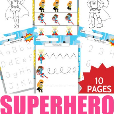 Girl Superhero Preschool Learning Printable Package