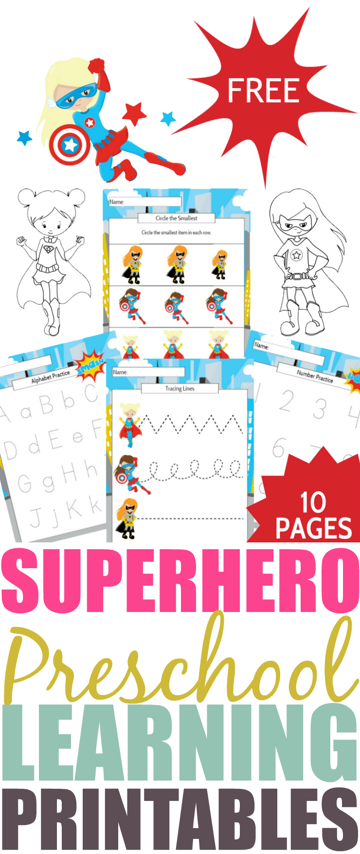 Girl Superhero Preschool Learning Printable Package PIN