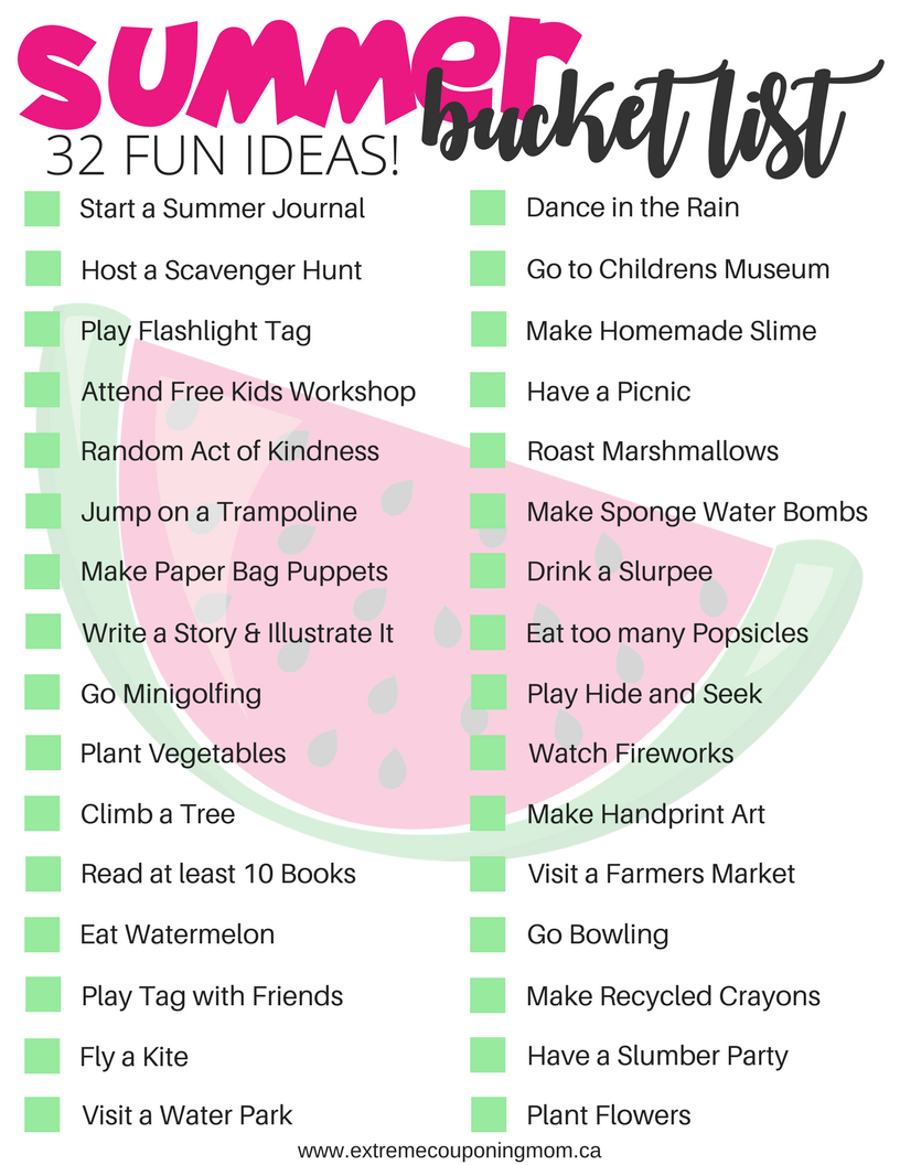 Kids Summer Bucket List