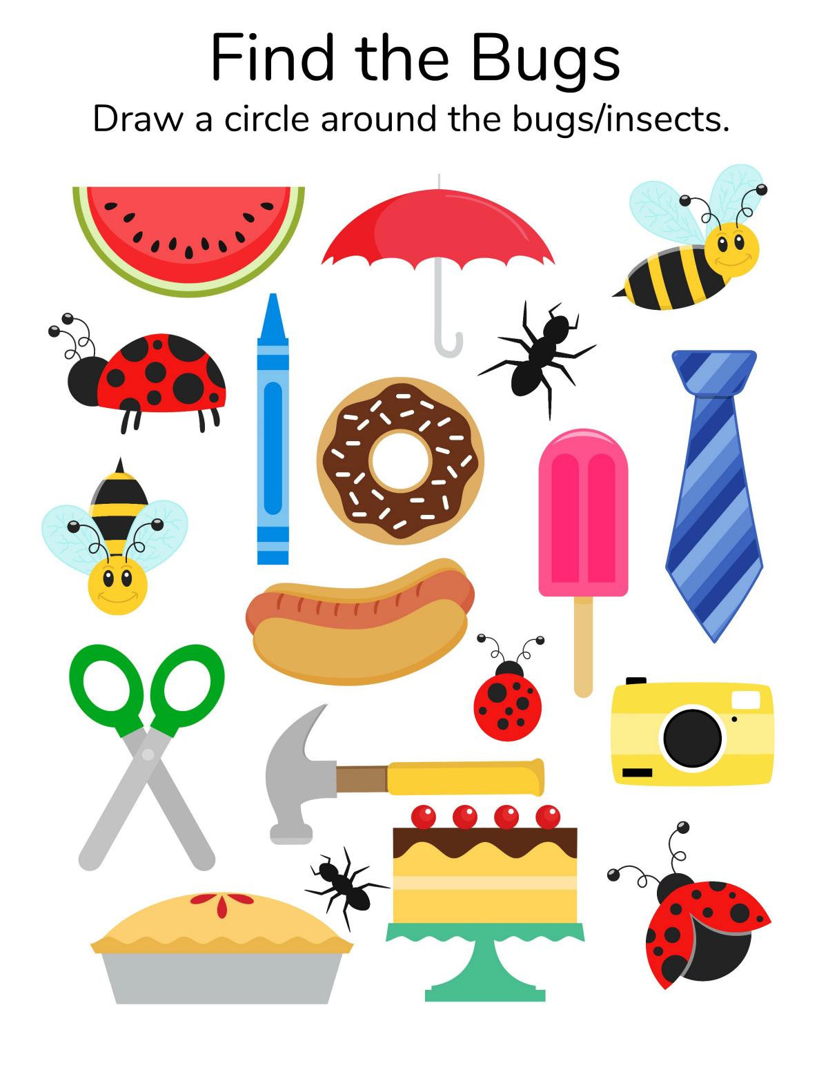 Find The Bugs Printable Worksheet