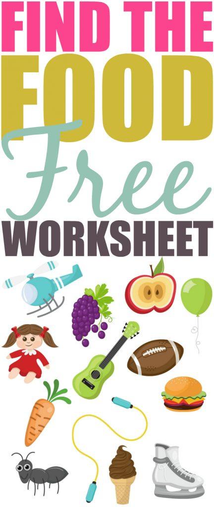 Find The Food Printable Worksheet