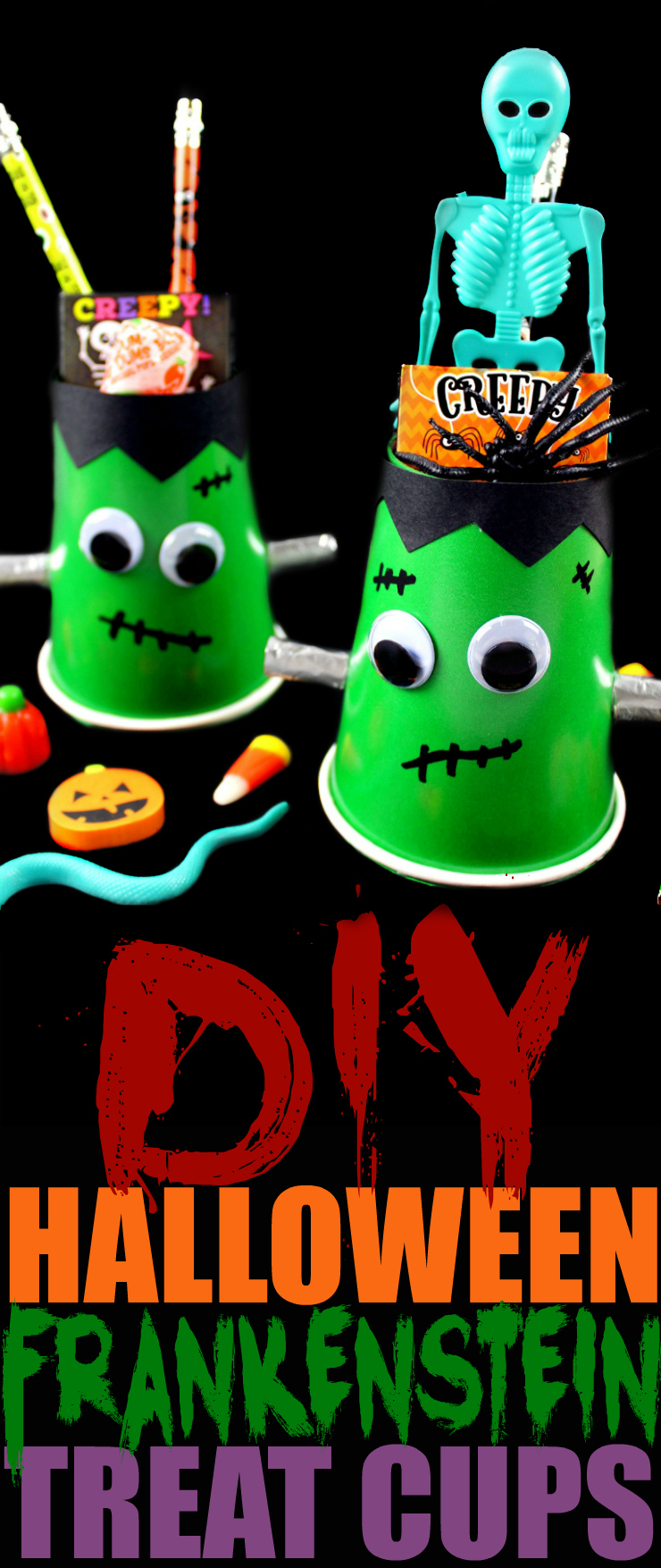 Make these DIY Halloween Frankenstein Treat Cups. Perfect for your Halloween party candy station or to limit the kids candy intake after trick-or-treating.