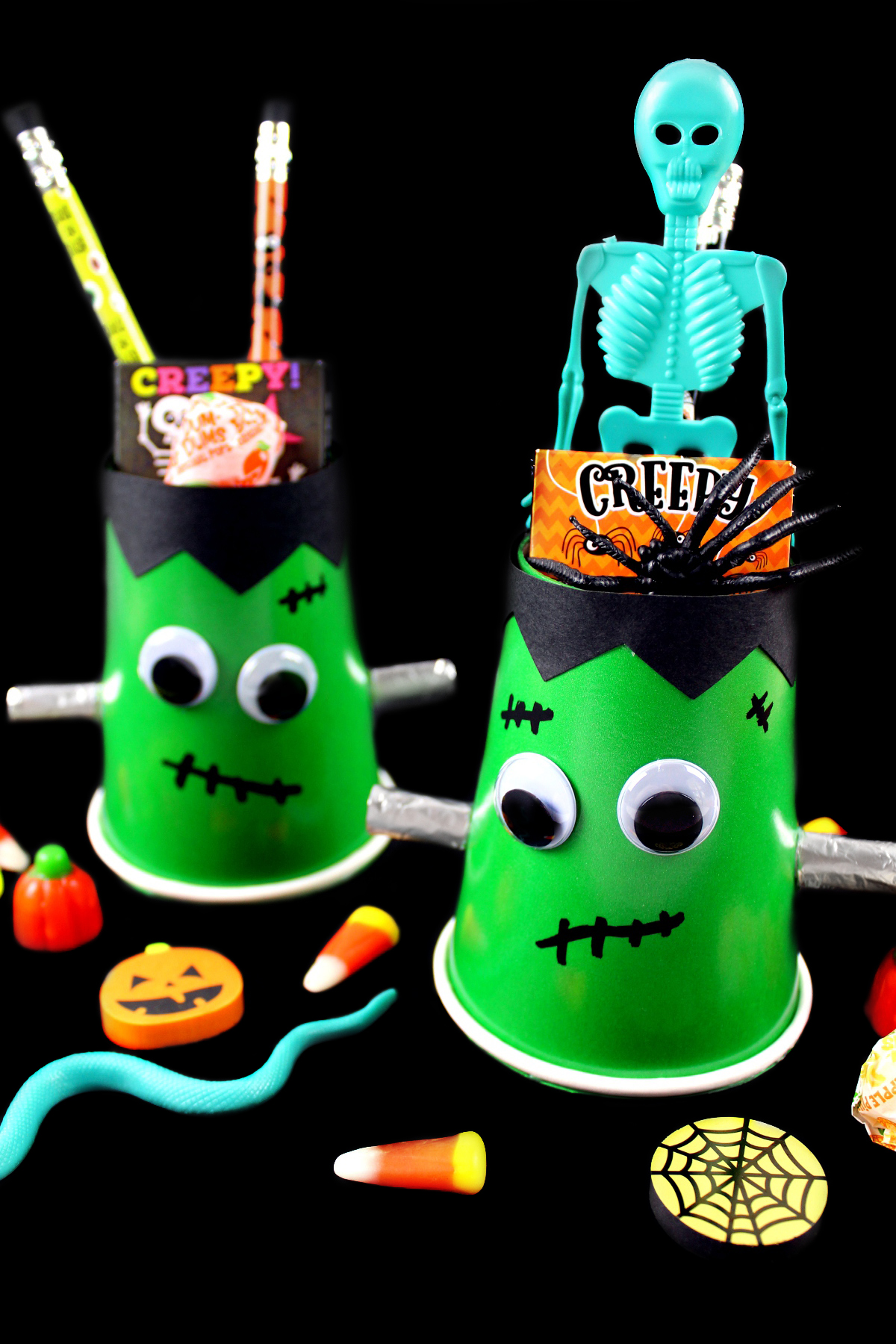 DIY Frankenstein Halloween Treat Cups