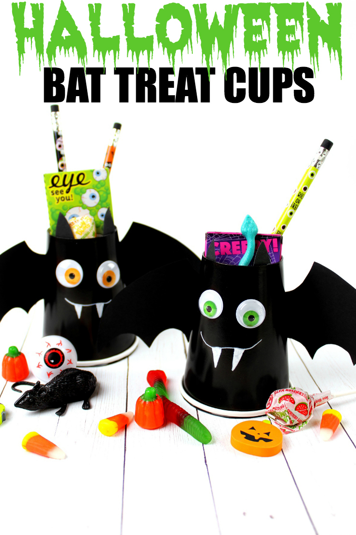 Create these spooky Halloween Bat Treat Cups with the kids, then fill them with fun treats and prizes. Head to the blog for supply list + full instructions.
