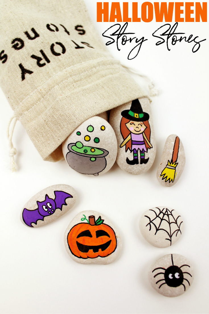 Get your creative pants on and make some spooky Halloween story stones for your little one. These little stones create hours of learning and creative fun!