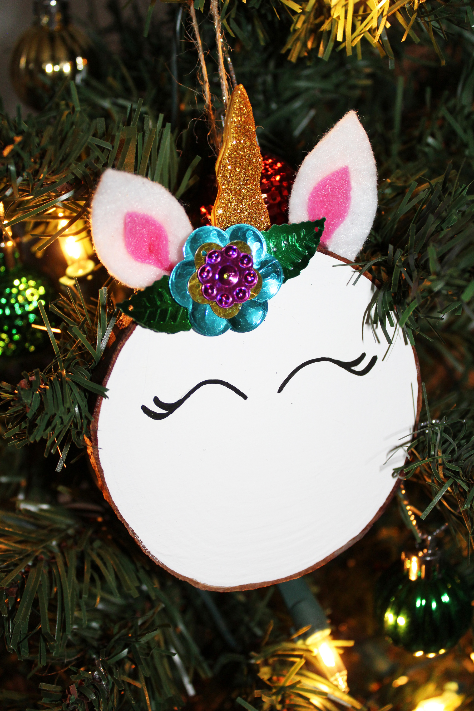 diy magical unicorn christmas tree ornament - Unicorn Christmas Decorations