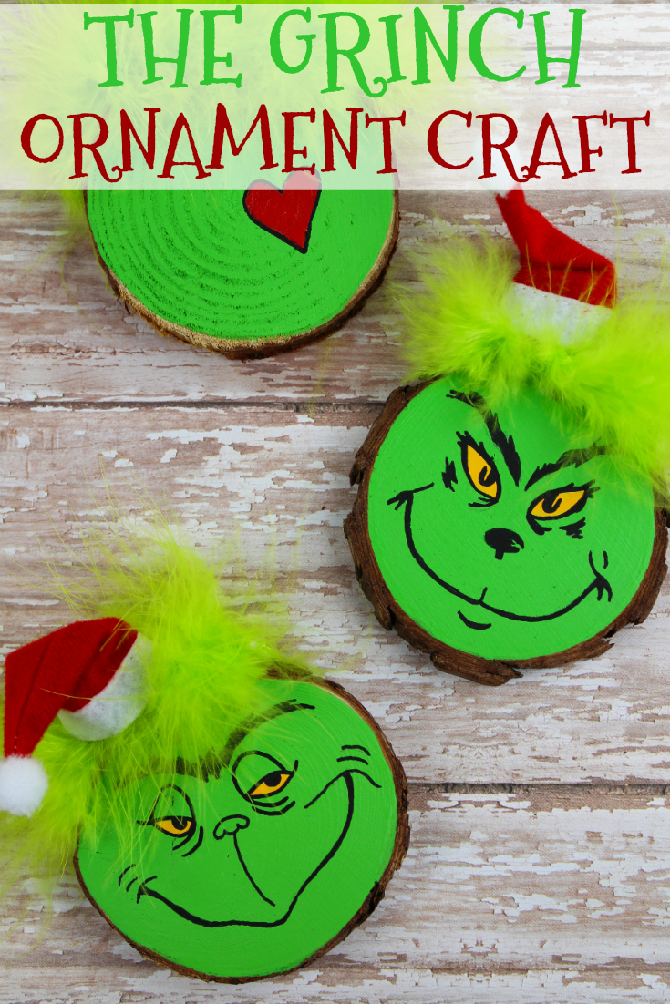 Wooden Grinch Christmas Tree Ornament