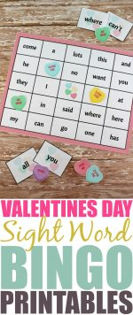 Valentine's Day Sight Word Bingo Printable Package