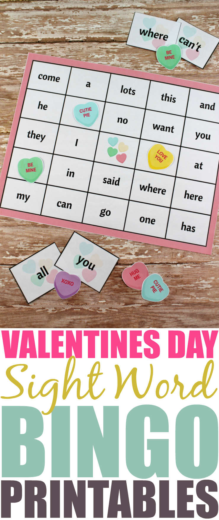 Whether you're a teacher, daycare provider, or parent, incorporate learning on Valentine's Day with this Valentine's Day themed Sight Word Bingo printable!