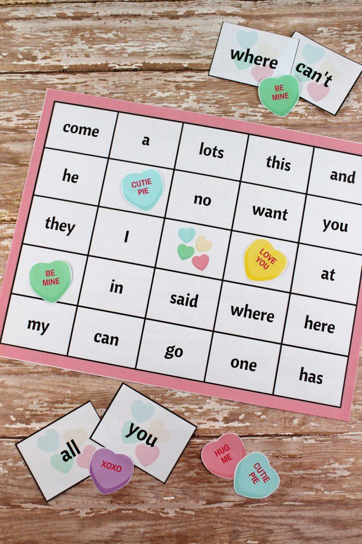 Valentine's Day Sight Word Bingo Printable Package