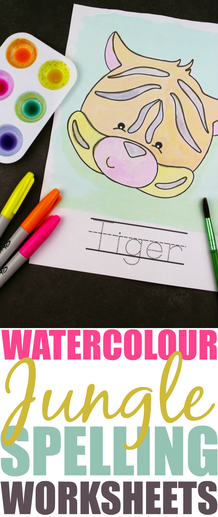 Watercolour Jungle Friends Spelling Worksheets