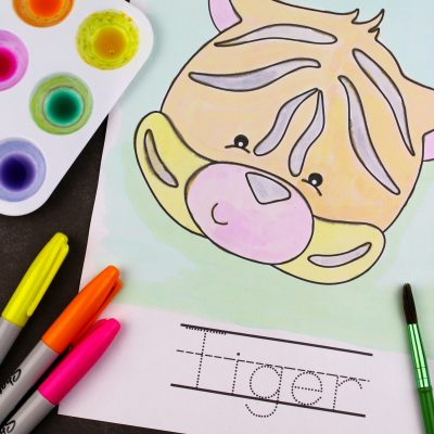 Watercolour Jungle Friends Spelling Worksheets