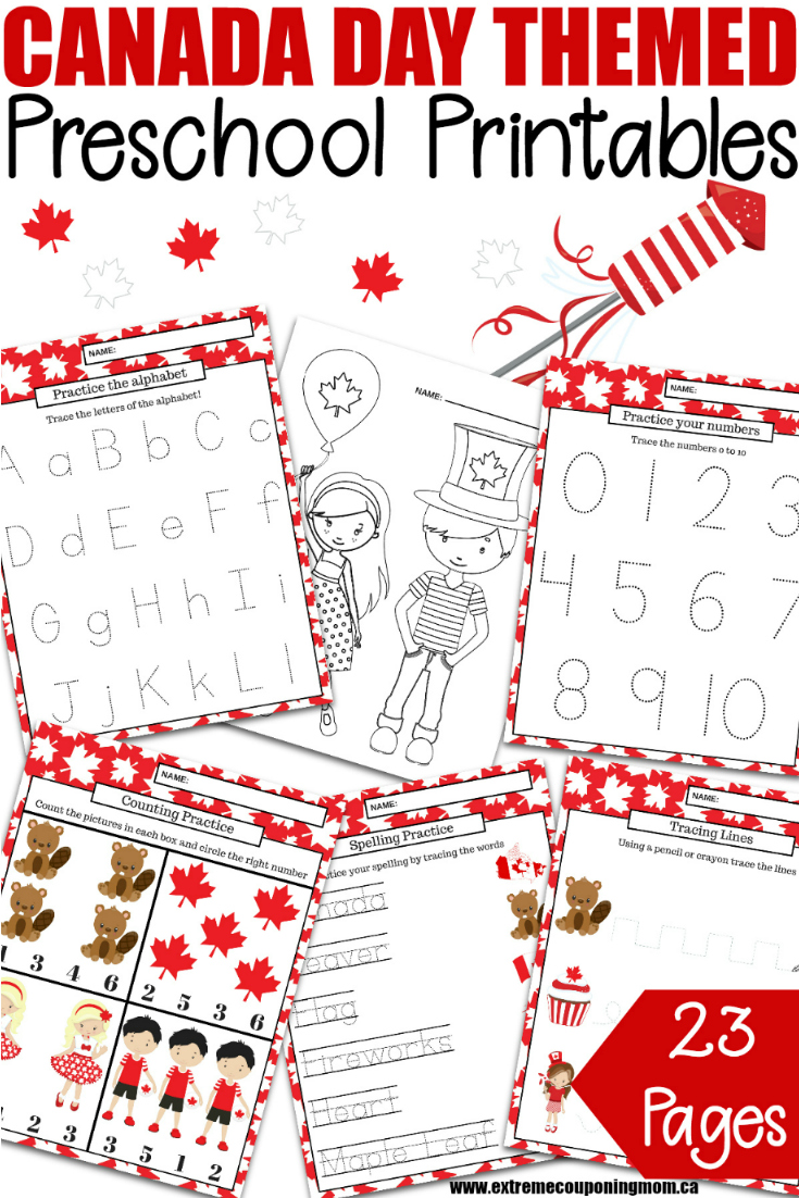 Keep the kids busy, and learning, with this fun Canada Day preschool learning package. It's filled with 23 educational pages for preschool to kindergarten!