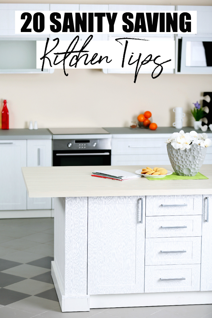 Losing your mind in the kitchen? Check out these 20 time saving kitchen tips that will help to keep your sanity in tact and homemade meals on the table. #KitchenTips #TimeManagement