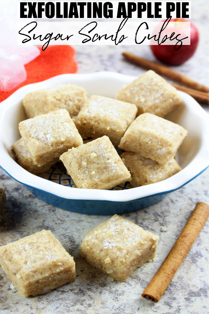 Indulge and treat your skin to some TLC with these exfoliating apple pie sugar scrub cubes. They are easy to make, and would be a perfect gift too! #DIY #Beauty #SkinCare #Homemade