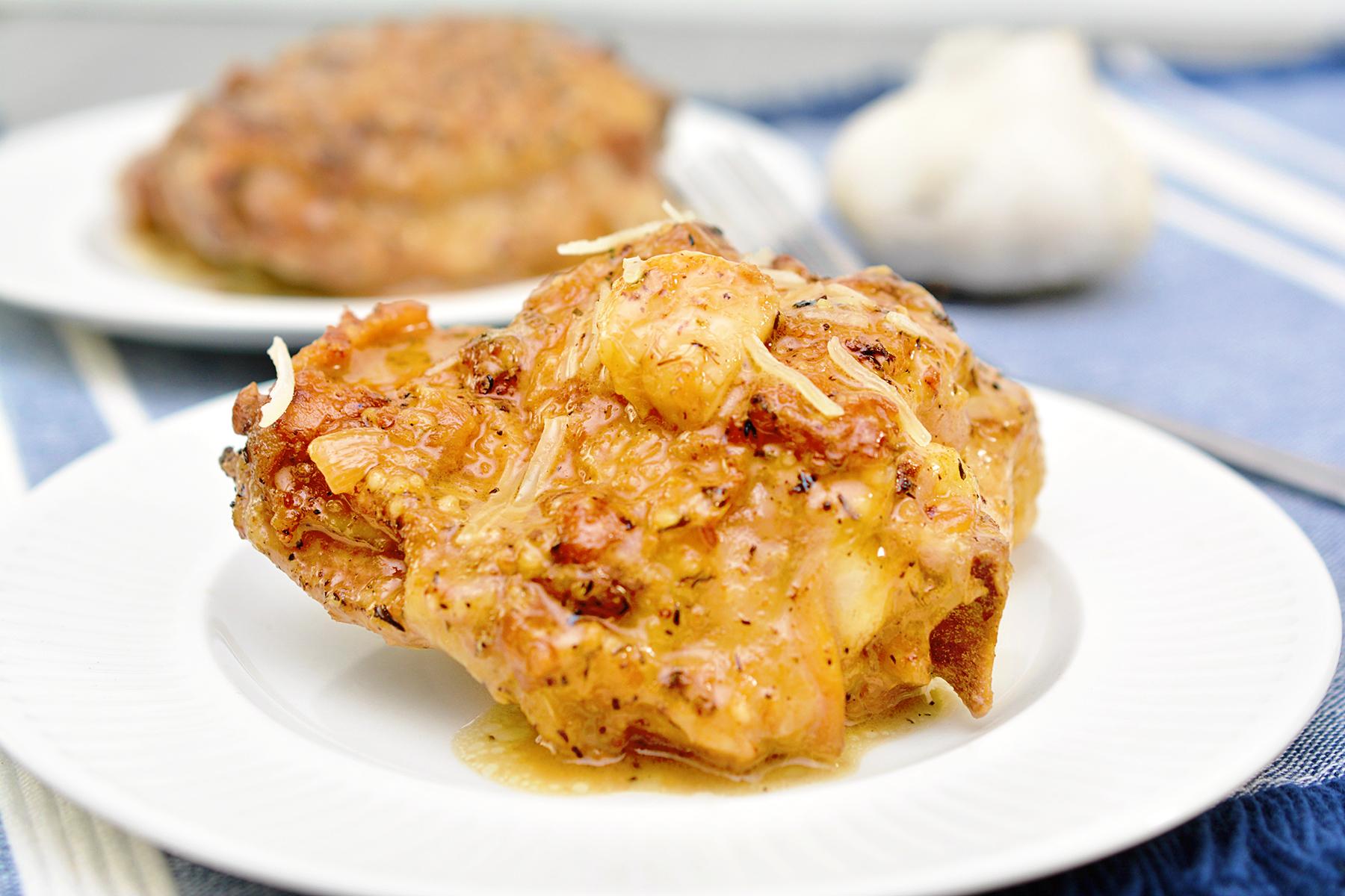 Keto Garlic Roasted Chicken Thighs with Parmesan Gravy