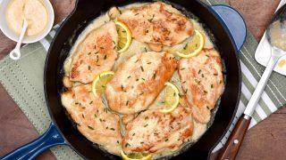 Creamy Lemon Garlic Skillet Turkey