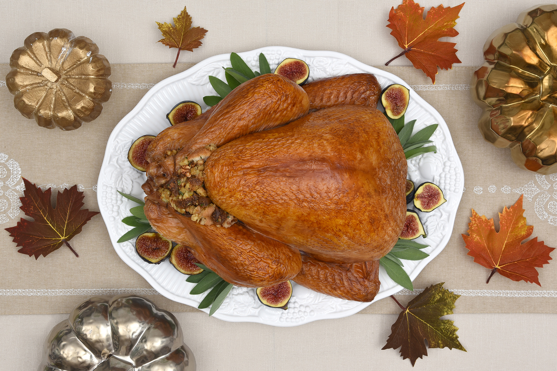 Thanksgiving Turkey With Fig Walnut Dressing