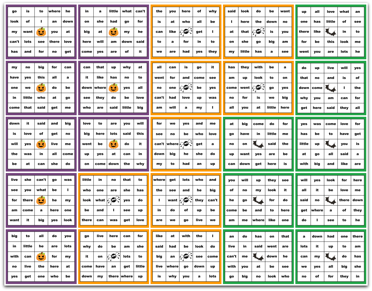 photograph relating to 25 Printable Halloween Bingo Cards identified as Sight Terms Halloween Bingo Printable Package deal