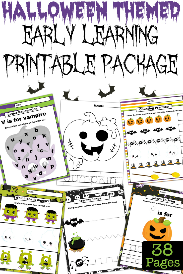 Keep the kids busy and learning, with these fun Halloween learning printables. This package is filled with 38 learning pages for preschool to kindergarten! #Printables #Halloween #EarlyLearning #Homeschooling