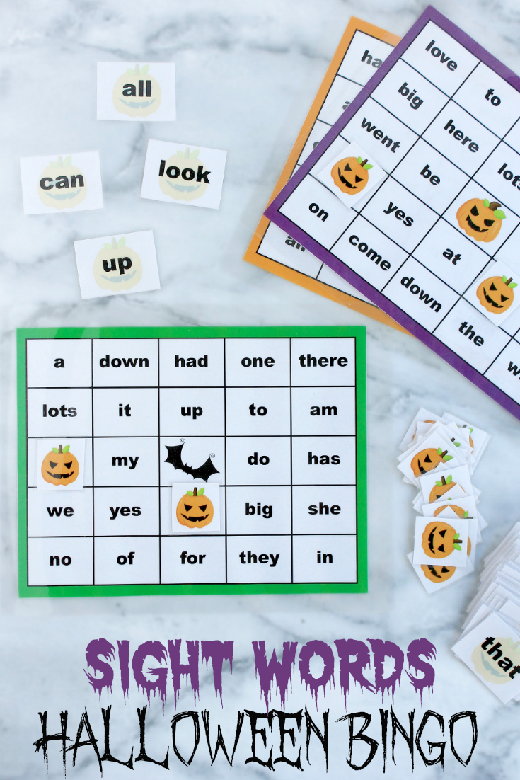 Whether you're a teacher, daycare provider or parent, incorporate learning on Halloween with this cute sight words Halloween Bingo printable package! #Halloween #FreePrintables #HomeSchooling