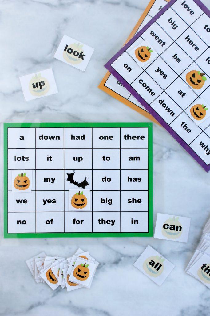 Sight Words Halloween Bingo Printable Package