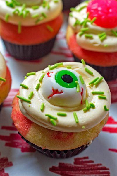 Deliciously Dead Halloween Zombie Cupcakes