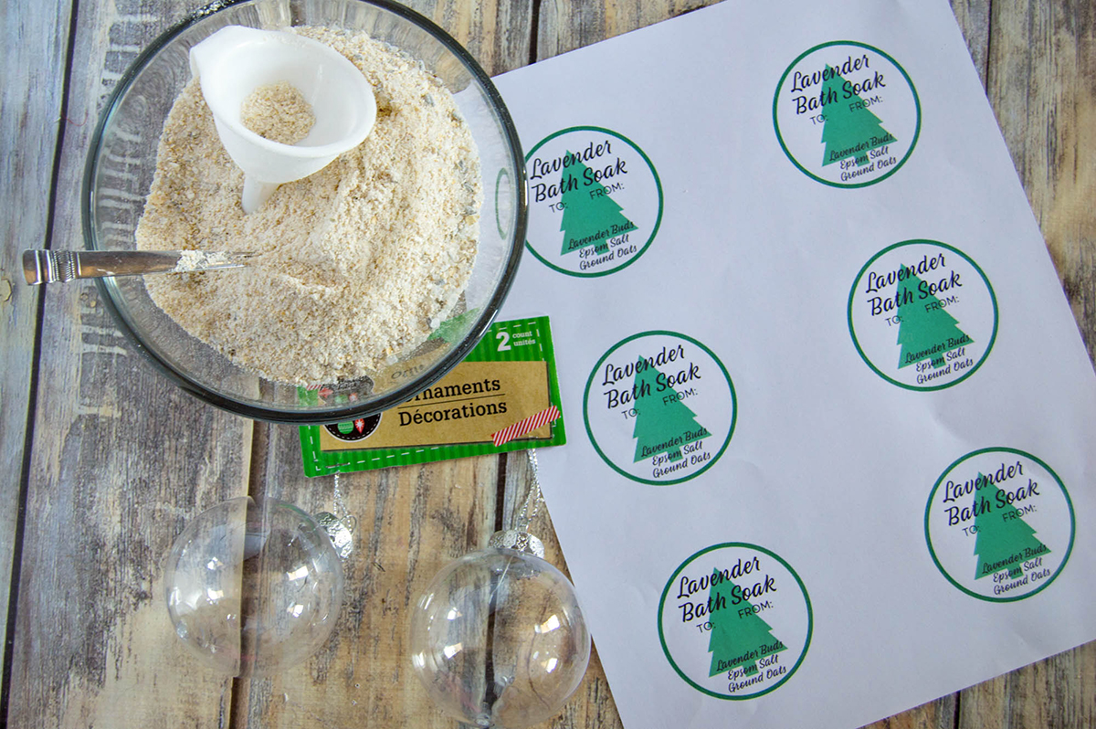 Lavender Bath Soak Ornaments With Printable Tags