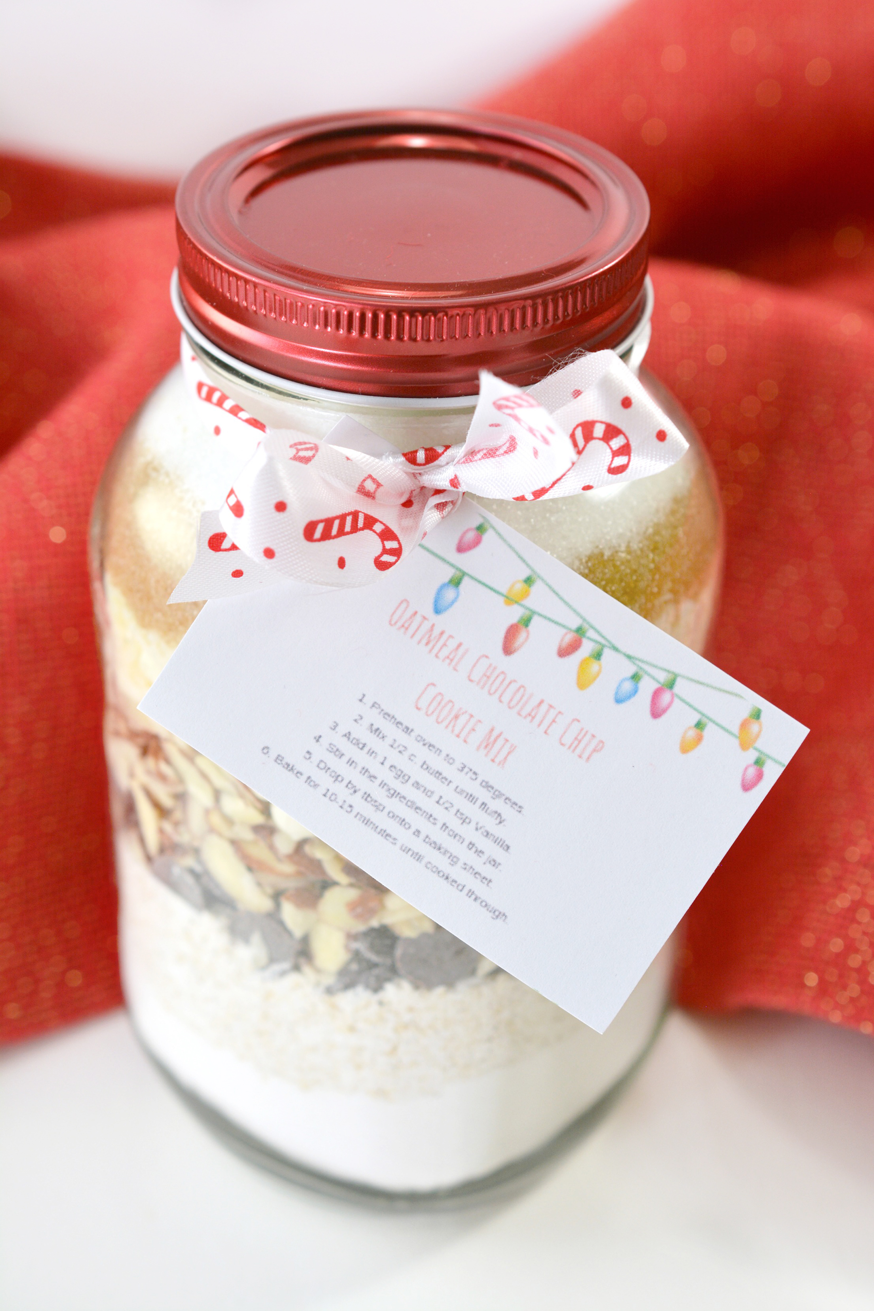 Handmade Gift Idea Oatmeal Chocolate Chip Cookie Mix In A Jar