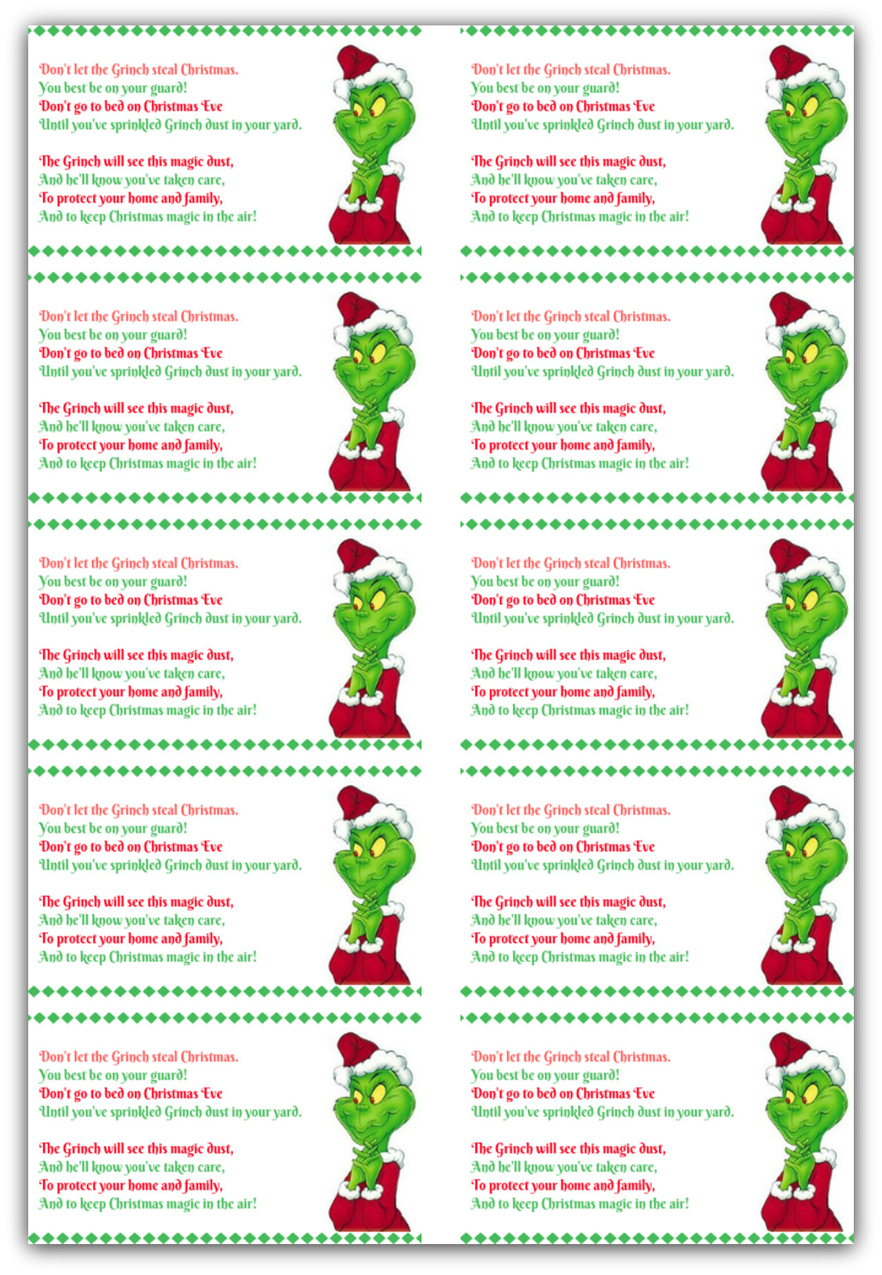 Grinch Dust Tag