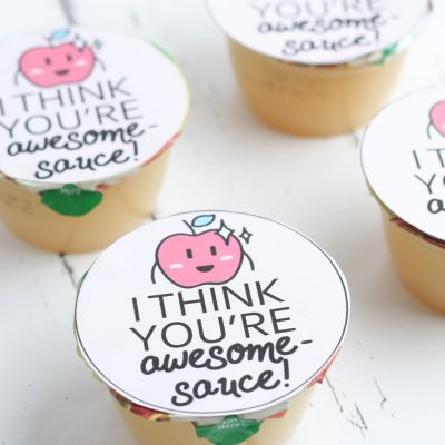 I Think You're Awesome-Sauce Valentine Applesauce Cups