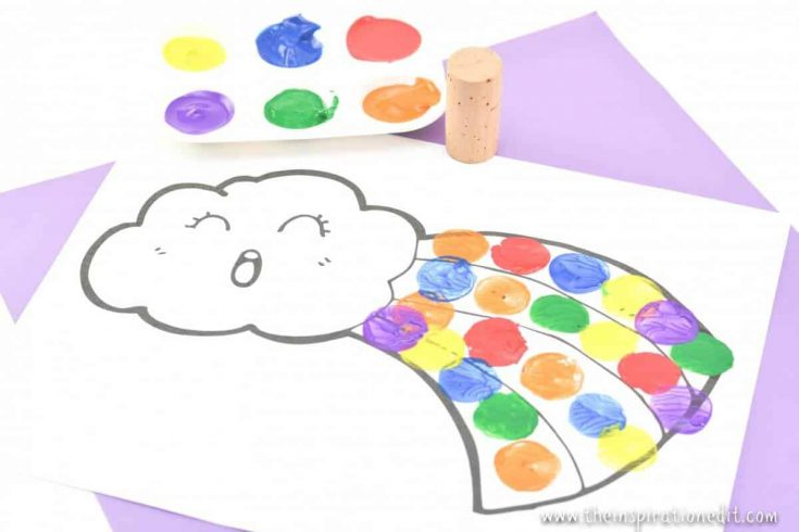Painting Rainbows With Cork For Preschoolers