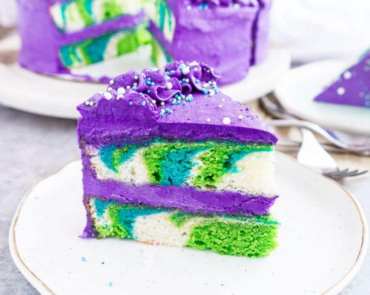 Mermaid Layer Cake with Vanilla Buttercream