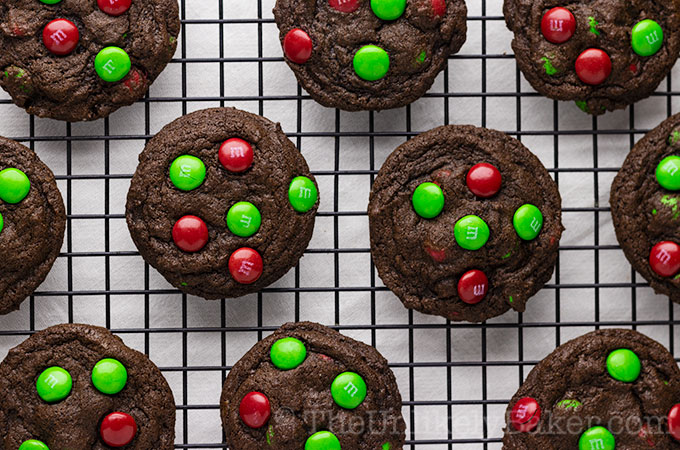 Double Chocolate Chewy M&M Cookies