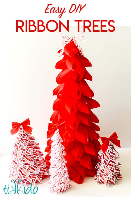 Easy DIY Ribbon Christmas Trees Holiday Decor