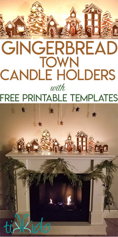 Christmas Mantel Gingerbread Town Candle Holders
