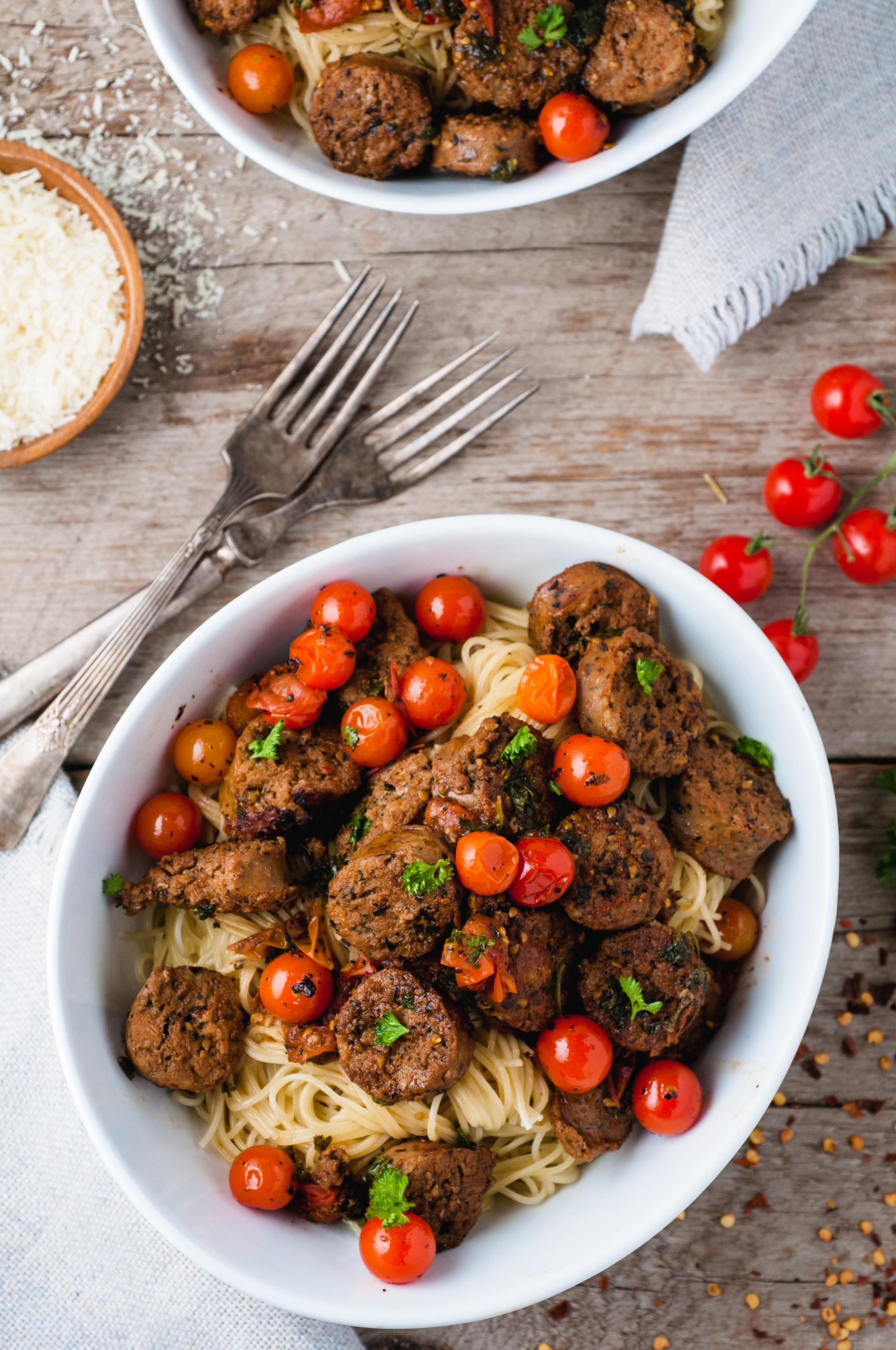 Italian Sausage Capellini With Blistered Tomatoes