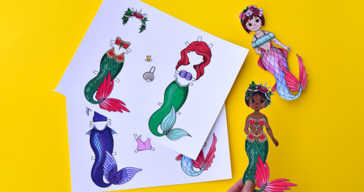 Mermaid Paper Dolls with Printable Templates