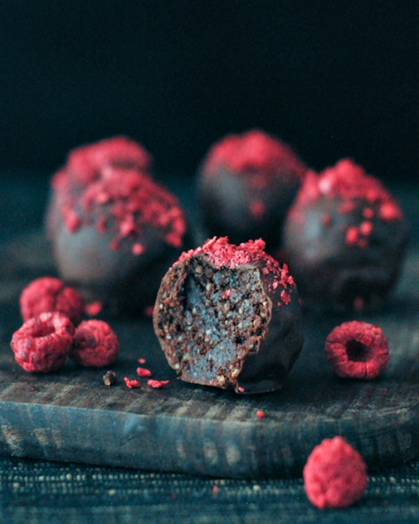 Raspberry Dusted Brownie Truffles
