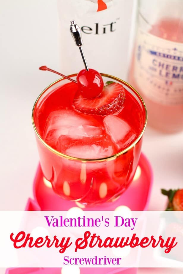 Valentine's Cherry Strawberry Screwdriver Cocktail