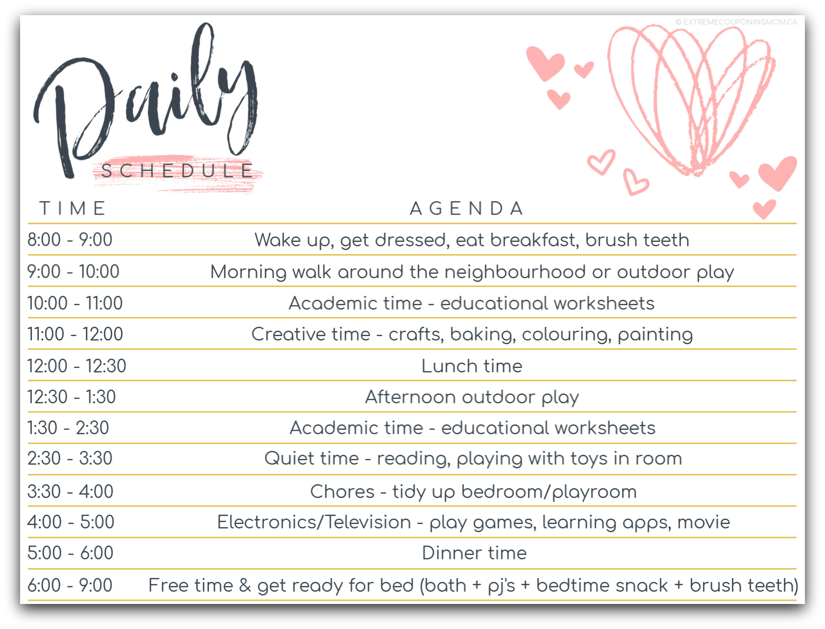 Daily Schedule Homeschool 2020